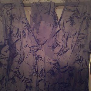 Blue print, long- sleeve sleep shirt & panties